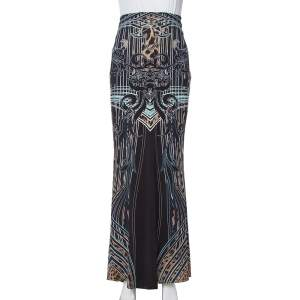 Roberto Cavalli Black Printed Jersey Fit & Flare Maxi Skirt L