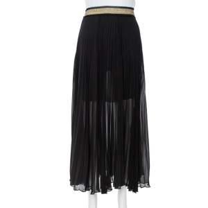 Roberto Cavalli Black Silk Crepe Pleated Midi Skirt L