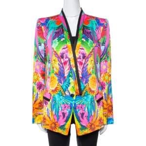 Roberto Cavalli Multicolor Floral Print Silk Tailored Blazer L