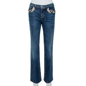 Roberto Cavalli Indigo Denim Sequined Straight Fit Jeans L