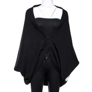 Roberto Cavalli Black Wool Knit Circle Cardigan L