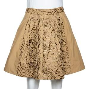Roberto Cavalli Beige Embroidered Cotton Pleated Mini Skirt S