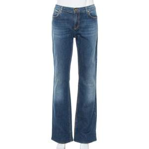 Roberto Cavalli Blue Denim Flock Pocket Straight Leg Jeans L
