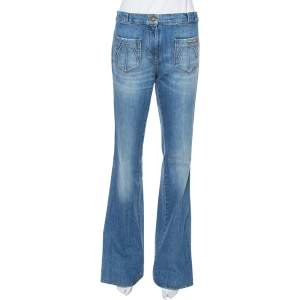 Roberto Cavalli Blue Denim Braid Trim Flared Jeans M