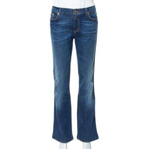 Roberto Cavalli Blue Denim Embroidered Pocket Straight Leg Jeans L