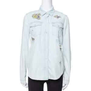 Roberto Cavalli Light Blue Distressed Denim Patch Detail Shirt S