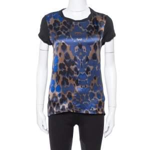 Roberto Cavalli Black Abstract Print Silk & Cotton Top S