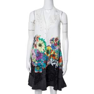 Roberto Cavalli White Floral Print Cotton Embroidered Flared Dress S