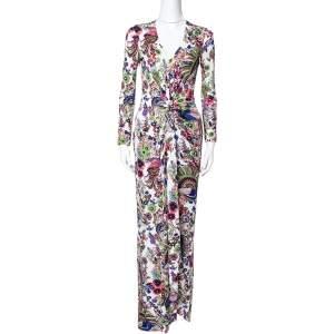 Roberto Cavalli Multicolor Floral Print Crepe Gathered Maxi Dress S