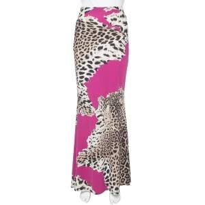 Roberto Cavalli  Magenta Animal Print Jersey Maxi Skirt L