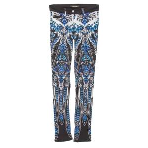 Roberto Cavalli Blue Cotton Printed Flared Bottom Jeans S