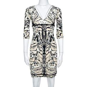 Roberto Cavalli Tri Color Nylon Jersey V-Neck Dress M