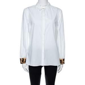 Roberto Cavalli White Cotton Animal Print Detail Lining Long Sleeve Shirt L