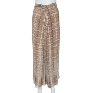Roberto Cavalli Brown Snakeskin Print Jersey Gathered Waist Maxi Skirt M
