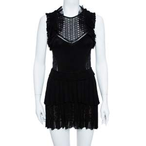 Roberto Cavalli Black Lace Detail Ruffled Sleeveless Dress S