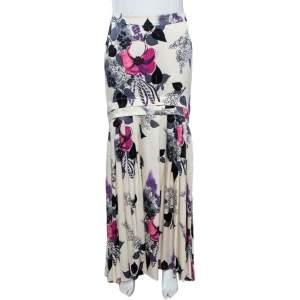 Roberto Cavalli Cream Floral Print Silk Satin Maxi Skirt S