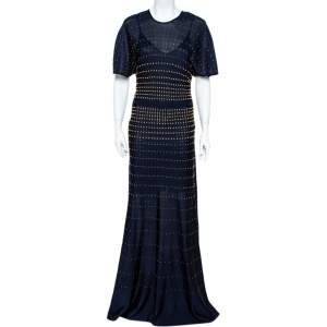 Roberto Cavalli Navy Blue Pointelle Knit Studded Maxi Dress M