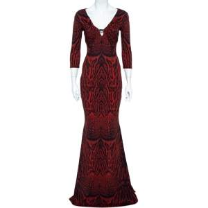 Roberto Cavalli Red Leopard Print Jersey Fitted Maxi Dress M