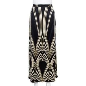 Roberto Cavalli Multicolor Print Silk Flared Skirt M