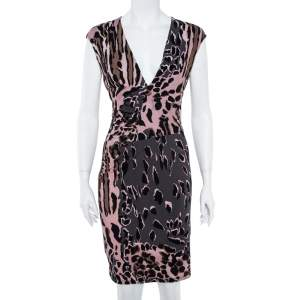 Roberto Cavalli Grey and Pink Ruched Animal Print Dress M