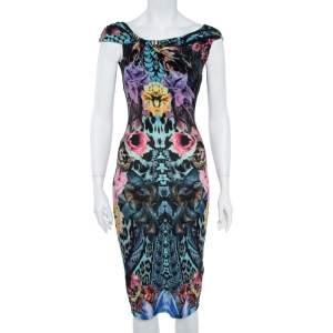 Roberto Cavalli Multicolor Print Midi Dress S