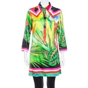 Roberto Cavalli Multicolor Tropical Printed Silk Satin Collared Tunic M