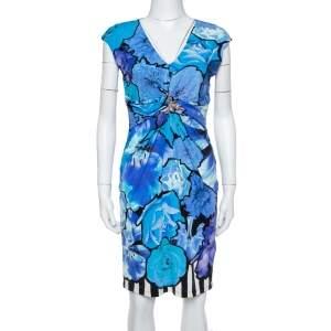 Roberto Cavalli Blue Floral Print Jersey Brooch Detail Dress M