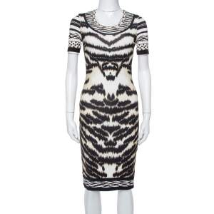 Roberto Cavalli Multicolor Knit Animal Printed Midi Dress S