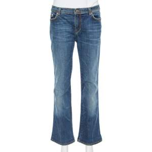 Roberto Cavalli Blue Medium Washed Denim Straight Leg Jeans L