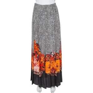 Roberto Cavalli Black & Orange Abstract Printed Silk Pleated Maxi Skirt S