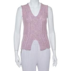 Roberto Cavalli Vintage Pink Lurex Purl Knit Sleeveless Sweater M