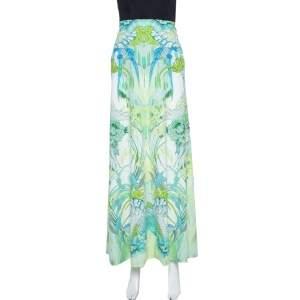 Roberto Cavalli Light Green Printed Jersey Maxi Skirt L