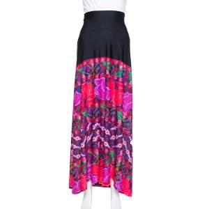 Roberto Cavalli Black Floral Printed Knit Maxi High Waist Skirt L