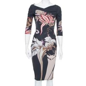 Roberto Cavalli Black Floral Printed Knit Bodycon Dress S