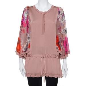 Roberto Cavalli Blush Pink Wool Floral Print Sleeve Detail Drop Waist Tunic S