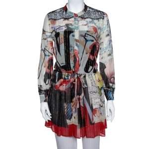 Roberto Cavalli Multicolor Glitter Detail Silk & Lace Waist Tie Detail Tunic S