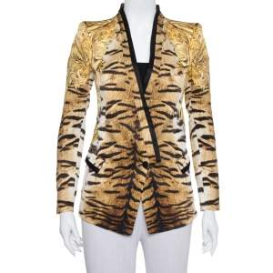 Roberto Cavalli Beige Animal Print Silk Tailored Blazer S