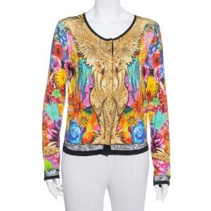 Roberto Cavalli Multicolor Floral Printed Silk Button Front Cardigan M