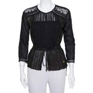 Roberto Cavalli Black Lurex Knit Pintuck Detail Sheer Top M