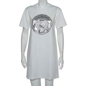 Roberto Cavalli White Firenze Printed T-Shirt Dress M