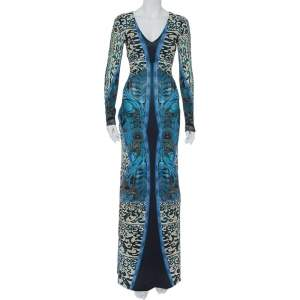 Roberto Cavalli Multicolor Printed Jersey V-Neck Long Dress S