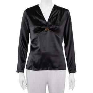 Roberto Cavalli Black Satin Ruche Detail Long Sleeve Top L