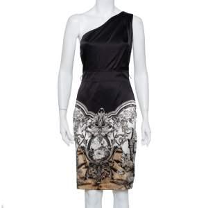 فستان روبرتو كافالي كتف واحد ساتان مطبوع أسود مقاس صغير (سمول)