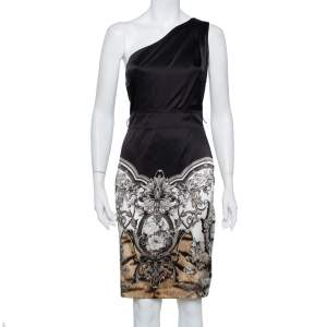 Roberto Cavalli Black Printed Satin One Shoulder Dress S