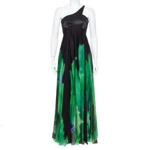 Roberto Cavalli Black and Green Printed Silk  One Shoulder Gown S
