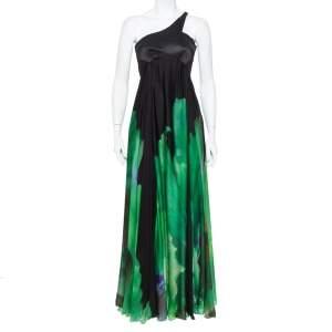 فستان سهرة روبرتو كافالي حرير أسود وأخضر مطبوع بكتف واحد مقاس صغير - سمول