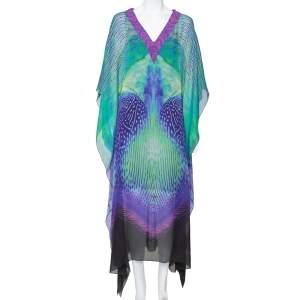 فستان قفطان روبرتو كافالي حرير متعدد الألوان مقاس وسط (ميديوم)