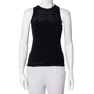 Roberto Cavalli Black Perforated Knit Tank Top S