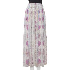 Roberto Cavalli Multicolor Snakeskin Printed Silk Maxi Skirt L