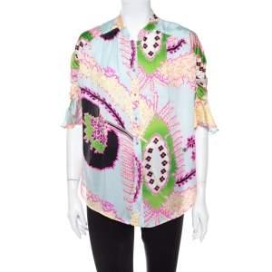 Roberto Cavalli Multicolor Abstract Printed Silk Ruffle Sleeve Blouse L
